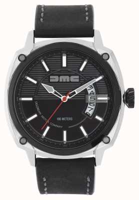 DeLorean Motor Company Watches Herren alpha dmc schwarzes Lederarmband schwarzes Zifferblatt DMC-1