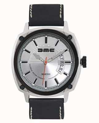 DeLorean Motor Company Watches Alpha dmc Silber Herren Silber Zifferblatt schwarzes Lederarmband DMC-3