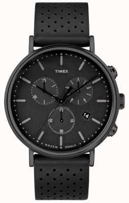 Timex Fairfield Chrono schwarzes Lederarmband / schwarzes Zifferblatt TW2R26800