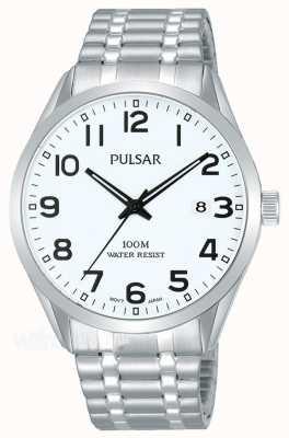 Pulsar Mens Edelstahlarmband Datumsanzeige Uhr PS9559X1