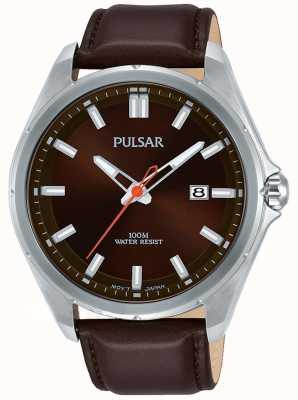 Pulsar Brown Lederband Edelstahlgehäuse Datumsanzeige PS9555X1