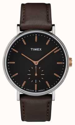 Timex Fairfield Silverton Gehäuse schwarzes Zifferblatt und braunes Armband TW2R38100