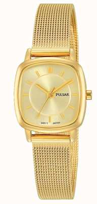 Pulsar Womens Gold Edelstahl Mesh Armband 30m Widerstand PH8380X1