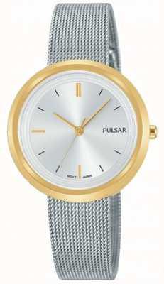Pulsar Silbernes Stahlmaschenarmband der Frauen runder Goldkasten PH8386X1