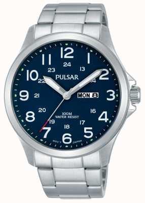 Pulsar Mens Edelstahl Armband blaues Zifferblatt Tag Datum PJ6095X1