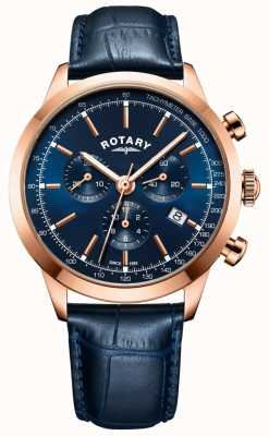 Rotary Herren cambridge Chronograph blau Lederuhr GS05257/05