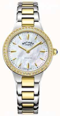 Rotary Womens Gold zweifarbige batteriebetriebene Quarz Analog LB05276/41