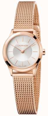 Calvin Klein Damen Rose Gold Mesh Armband weißes Zifferblatt K3M23626