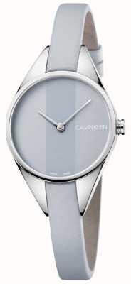 Calvin Klein Damen rebellisches graues Lederarmband graues Zifferblatt K8P231Q4
