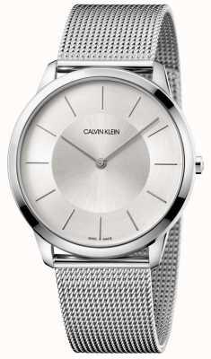 Calvin Klein Mens minimal grau Mesh Armband Silber Zifferblatt K3M2T126