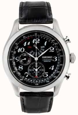 Seiko Chronograph Herrenuhr schwarzes Zifferblatt schwarzes Lederarmband SPC133P1