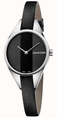Calvin Klein Damen rebellisches Lederarmband mit schwarzem Lederarmband K8P231C1