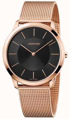 Calvin Klein Mens minimal Roségold Mesh Armband schwarz Zifferblatt Uhr K3M2T621