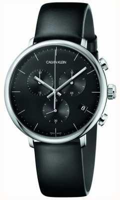 Calvin Klein High-Noon schwarz Lederband Chronograph Uhr K8M271C1