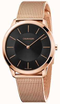Calvin Klein Mens minimal Roségold Mesh Armband schwarz Zifferblatt Uhr K3M2162Y