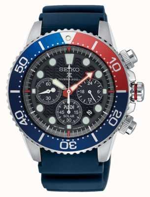 Seiko Herren Padi Prospex Solarbetriebene Chronographenuhr mit blauem Armband SSC663P1