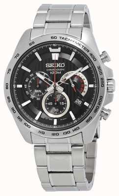 Seiko Herren Chronograph Uhr Silberarmband schwarzes Zifferblatt SSB299P1