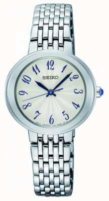 Seiko Damen Silber Quarz Armband weißes Gesicht SRZ505P1