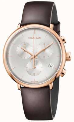 Calvin Klein Braunes Lederarmband der Herren mittags Roségold K8M216G6