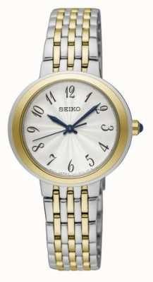 Seiko Damen zweifarbig silberne und goldene Armbanduhr SRZ506P1