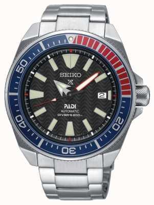 Seiko Mens Edelstahl Padi Prospex automatische Uhr schwarzes Zifferblatt SRPB99K1