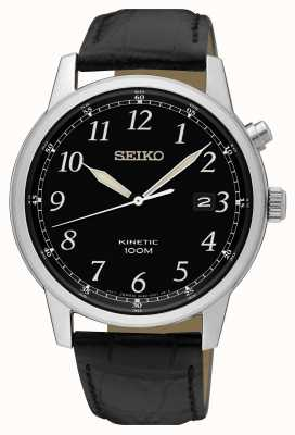Seiko Kinetisches schwarzes Herrenarmband und schwarze Zifferblattuhr SKA781P1