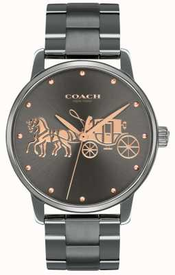 Coach Womens Grand Black IP vergoldet Gehäuse & Armband Roségold-Print 14502924