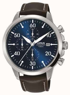 Lorus Herren Chronograph Uhr braun Lederband blaues Zifferblatt RM353EX9