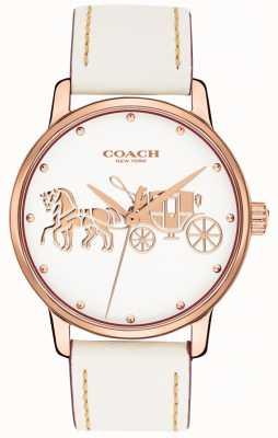 Coach Weißes Lederarmband für Damen aus Roségold mit weißem Zifferblatt 14502973