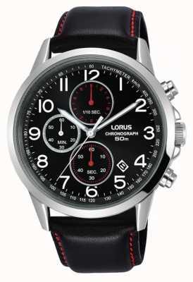 Lorus Herren Chronograph Uhr schwarzes Lederarmband schwarzes Zifferblatt RM369EX8