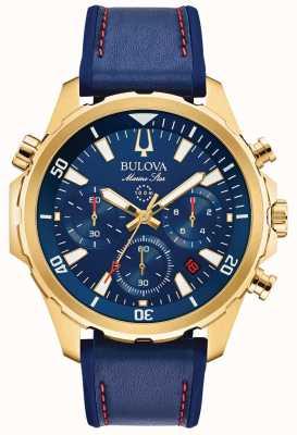 Bulova Marineblauer Herren Lederarmband Chronograph 97B168