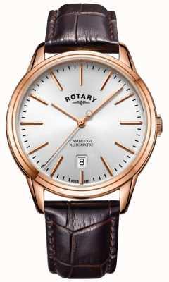 Rotary Herren cambridge Uhr roségoldfarbenen Gehäuse Lederarmband GS05252/02