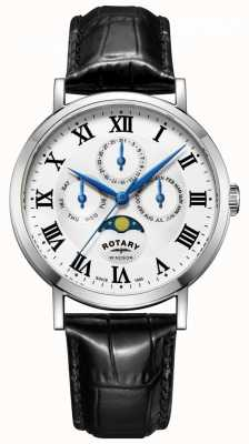 Rotary Mens windsor moonphase day watch schwarz Lederband GS05325/01