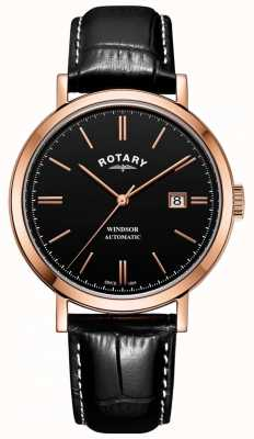 Rotary Herren windsor Uhr Goldton Gehäuse schwarzes Zifferblatt Lederarmband GS05319/04