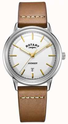 Rotary Herren Rächer Uhr Silberton Gehäuse Tan Lederband GS05340/02