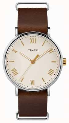 Timex Herren 41mm braunes Lederarmband mit cremefarbenem Zifferblatt TW2R80400