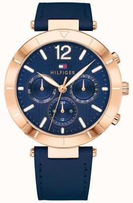 Tommy Hilfiger Blauer Silikonverschluss für Damen Chloe Watch Day Date 1781881