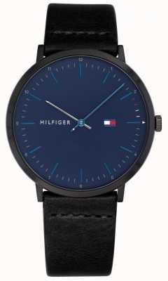 Tommy Hilfiger Herren james Uhr schwarzes Lederarmband blaues Zifferblatt 1791462