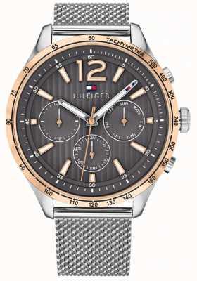 Tommy Hilfiger Herren Gavin Chronograph Uhr Silber Stahlgewebe Armband 1791466