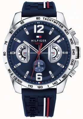 Tommy Hilfiger Herren Decker Uhr blaues Zifferblatt blau Kautschukband 1791476
