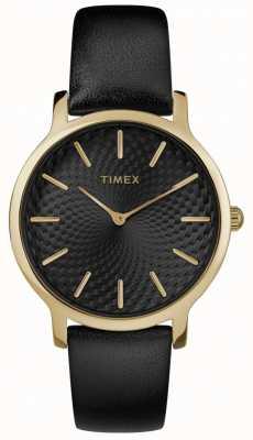 Timex Womens Skyline 34mm schwarzes Lederarmband schwarzes Zifferblatt TW2R36400