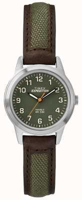 Timex Feld Mini Stirn Leder grün Zifferblatt TW4B12000