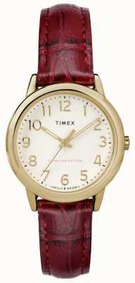 Timex Womens 30mm einfach Leser Burgunder Croc Armband Creme Zifferblatt TW2R65400