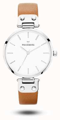 Mockberg Frauen wera braunes Lederband weißes Zifferblatt MO1006