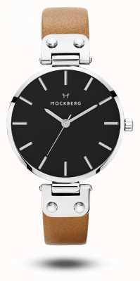 Mockberg Wera schwarz braunes Armband schwarzes Zifferblatt MO112
