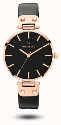Mockberg Sigrid schwarzes roségold pvd überzogenes schwarzes Lederband MO110