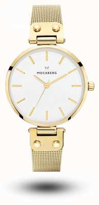 Mockberg Livia Gold PVD überzogenes Mesh-Armband weißes Zifferblatt MO1601