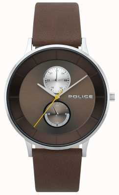 Police Herren berkeley braun Lederband Uhr 15402JS/12