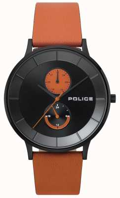 Police Herren berkeley orange Lederband Uhr 15402JSB/02
