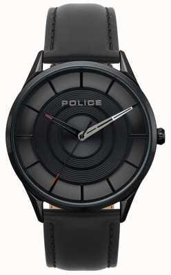 Police Herren Burbank schwarzes Leder, schwarz ip case watch 15399JSB/02